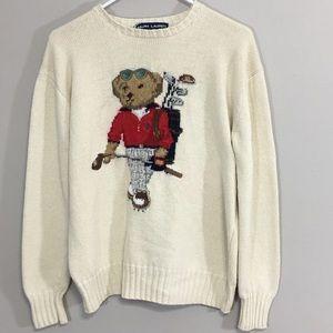 Polo Sport Ralph Lauren Bear Sweater Medium FLAWS